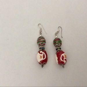 Dangle Earrings Santa Art Glass Handmade